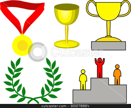 victory icons stock vector clipart, Victory- a medal, trophy, winners platform and wreath.  by Christos Georghiou