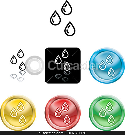 water droplets icon symbol stock vector clipart, Several versions of an icon symbol of a stylised water droplets  by Christos Georghiou