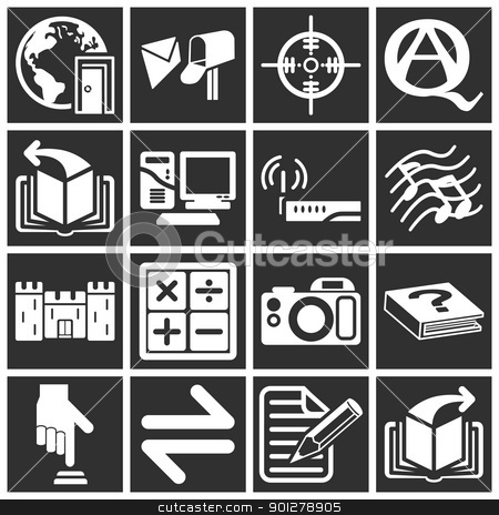 Internet web icon series set stock vector clipart, a set of internet web icons  by Christos Georghiou