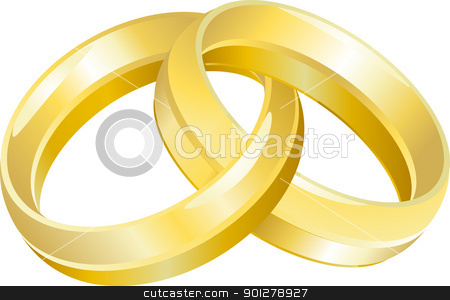 wedding bands or rings  stock vector clipart, A vector illustration of intertwined wedding bands or rings  by Christos Georghiou