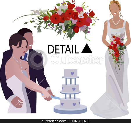 Wedding images stock vector clipart, A bride and groom and another bride!  by Christos Georghiou