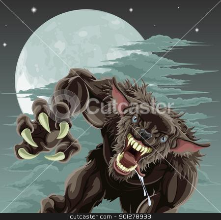 Werewolf moon illustration stock vector clipart, A frightening werewolf in front of moonlit sky. Halloween illustration. by Christos Georghiou