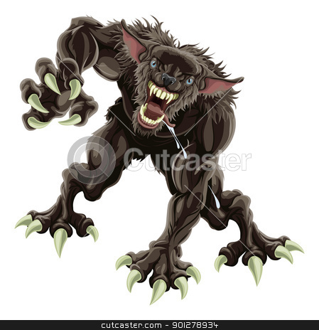 Werewolf illustration stock vector clipart, A fearsome werewolf monster attacking the viewer by Christos Georghiou