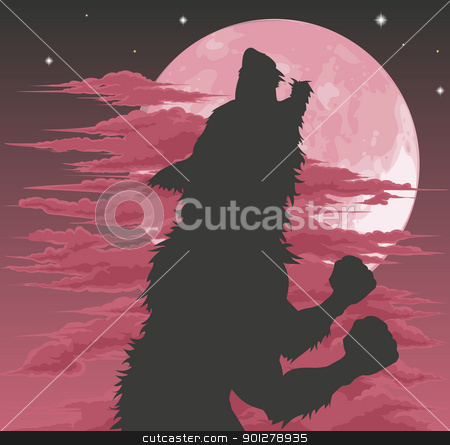 Werewolf silhouette howling at moon stock vector clipart, A frightening werewolf silhouette howling at the moon. Halloween illustration. by Christos Georghiou
