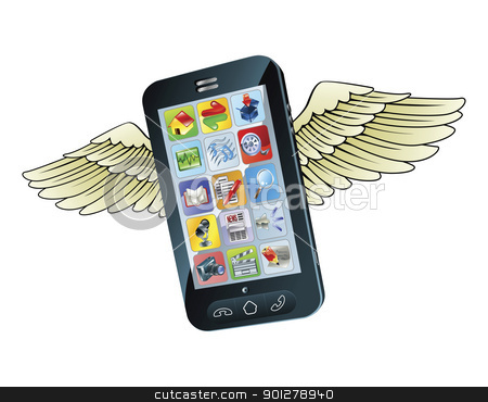 Smart mobile phone flying with wings stock vector clipart, An illustration of a  new smart mobile phone flying with wings by Christos Georghiou