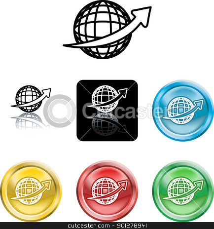Wire Globe Icon Symbol stock vector clipart, An icon symbol of a stylised wire frame globe with arrow swooshing ronud it by Christos Georghiou