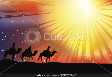 The three wise men stock vector clipart, The three wise men crossing the desert following the star of Bethlehem in Christmas Nativity scene by Christos Georghiou