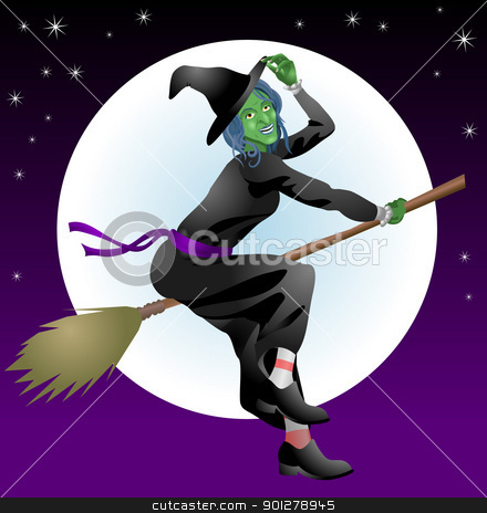 scary Halloween witch stock vector clipart, An illustration of a scary Halloween witch riding her broomstick  by Christos Georghiou