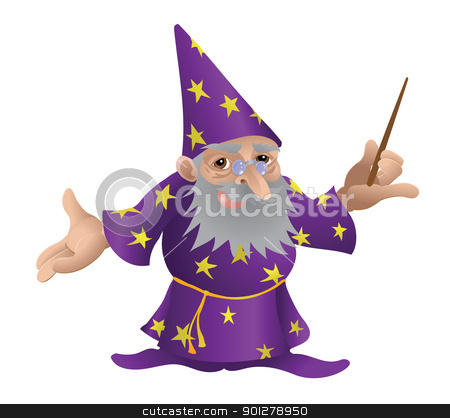 Wizard illustration stock vector clipart, Wizard illustration. An illustration of a very funky friendly wizard by Christos Georghiou