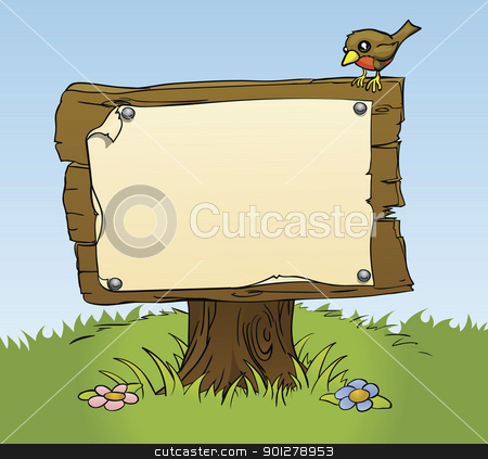 a rustic wooden sign stock vector clipart, An illustration of a rustic wooden sign with copy space for your own text. Surrounded by a bird and flowers for a perfect woodland scene by Christos Georghiou