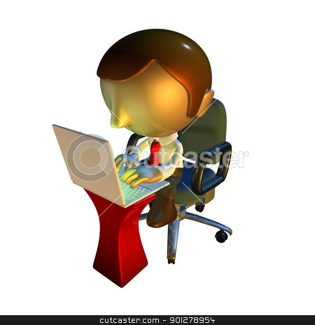 3d business man character sitting with laptop at desk stock photo, 3d business man character sitting in office chair with laptop at desk by Christos Georghiou
