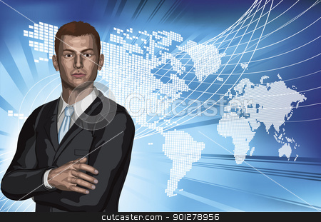Businessman abstract world map background stock vector clipart, Confident young businessman in front of abstract world map background concept by Christos Georghiou