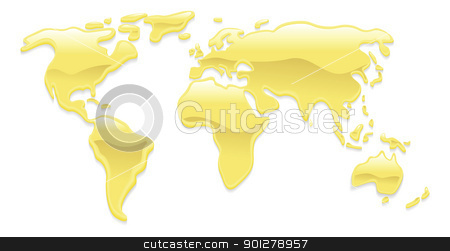 Liquid gold world map stock vector clipart, A world map with liquid gold droplets forming the continents by Christos Georghiou
