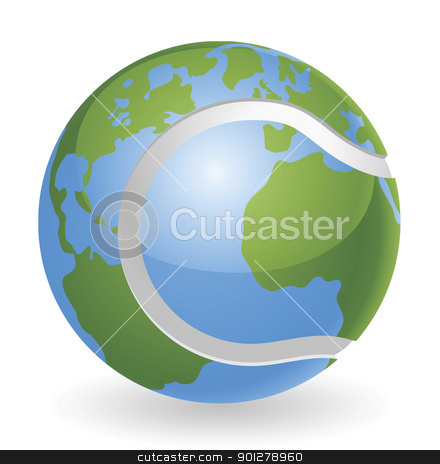 World globe tennis ball concept stock vector clipart, World globe tennis ball concept illustration by Christos Georghiou