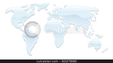 Water world map illustration stock vector clipart, A world map with water droplets forming the continents by Christos Georghiou