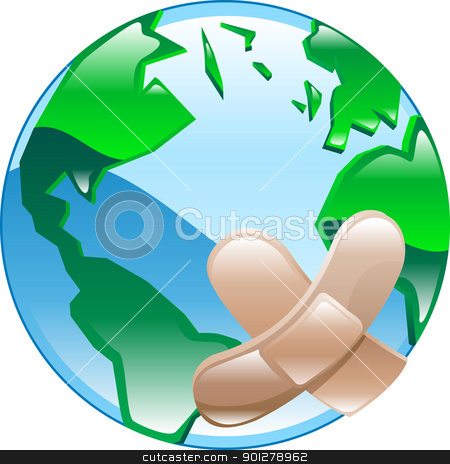 Wounded world concept stock vector clipart, Conceptual piece. Wounded world, referring to environmental issues or social human issues, poverty, war etc. by Christos Georghiou