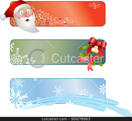 three Christmas banners  stock vector clipart, Illustration of a set of three Christmas banners  by Christos Georghiou