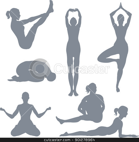 Yoga postures stock vector clipart, Yoga postures. A set of yoga postures silhouettes.  by Christos Georghiou