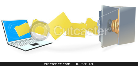 Laptop computer transferring files securely stock vector clipart, Laptop computer uploading or downloading files to secure internet server or backing up securely. by Christos Georghiou