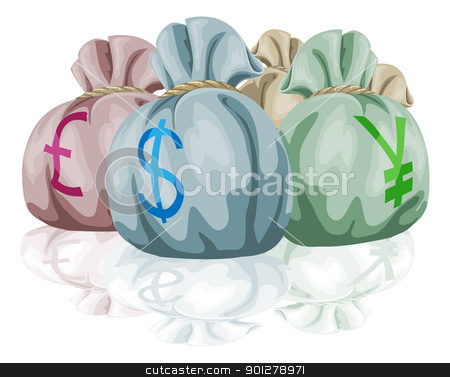 Money bag sacks containing currencies stock vector clipart, Money bag sacks containing different world currencies. Pound, dollar and yen symbols showing. by Christos Georghiou