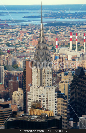 New York City Manhattan aerial view with Chrysler Building stock photo, New York City Manhattan aerial view with Chrysler Building and skyscrapers.  by rabbit75_cut