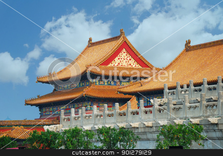 Forbidden City in Beijing China stock photo, Forbidden city architecture in Beijing, China.  by rabbit75_cut
