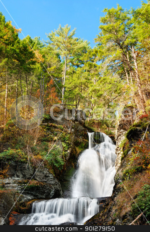 Autumn Waterfall in mountain stock photo, Waterfall in Autumn mountain with woods, foliage and rocks. From Digmans Fall of Pennsylvania by rabbit75_cut