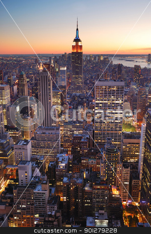 New York City Manhattan empire state building stock photo, New York City Manhattan skyline panorama sunset aerial view with. empire state building by rabbit75_cut