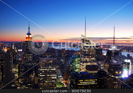 New York City Manhattan skyline aerial view stock photo, New York City Manhattan skyline aerial view with Empire State Building and Times Square at sunset. by rabbit75_cut