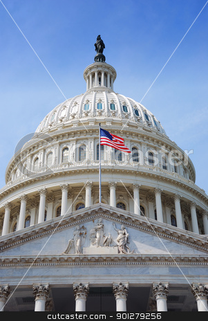 US Flag and Capitol Hill, Washington DC stock photo, US national flag flying in front of US capitol Building in Washington DC by rabbit75_cut