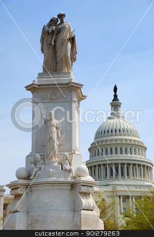 Statue of Peace, Washington DC stock photo, Statue of Peace and Capitol Hill Building dome in Washington DC by rabbit75_cut