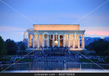 Washington DC stock photo, Lincoln Memorial at sunset with lake reflections, Washington DC by rabbit75_cut