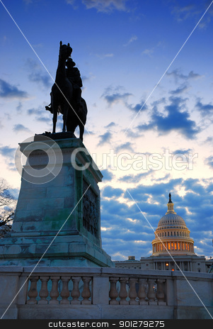 General grant statue and US capitol, Washington DC. stock photo, General grant statue in front of US capitol in the morning, Washington DC. by rabbit75_cut