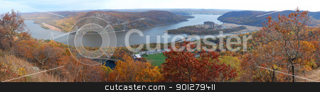 Bear Mountain Autumn panorama aerial view stock photo, Bear Mountain Autumn panorama aerial view with colorful trees in forest, bridge over Hudson River in New York State. by rabbit75_cut