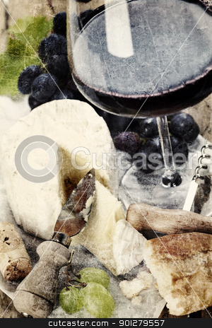 Cheese, grape and wine stock photo, Cheese, grape and wine on wooden table by klenova