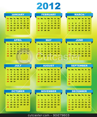 2012 Calendar stock vector clipart, 2012 Calendar With Abstract Green Background by JAMDesign