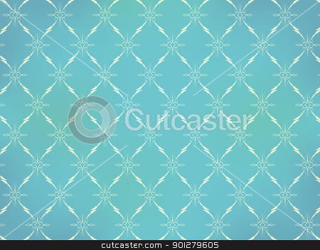 Retro Wallpaper stock vector clipart, Vintage Wallpaper - Light Ornaments on Turquoise Blue Background by JAMDesign