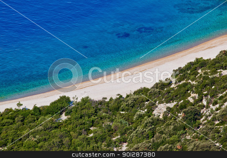 Croatian Beach stock photo, Fine beach in Lubenice, Cres, Croatia by xbrchx