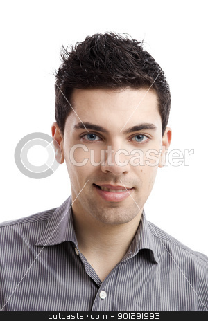 Handsome young man stock photo, Portrait of handsome young man smiling, isolated on white background by ikostudio