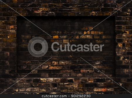 Old brick wall stock photo, Old weathered brick wall, rectangular recess by Dutourdumonde