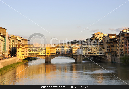 The Ponte Vecchio in Florence stock photo, The Ponte Vecchio and the Arno river at sunset by Dutourdumonde