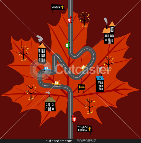 Way to fall concept illustration stock vector clipart, Road bound for the autumn background. Vector available by Cienpies Design