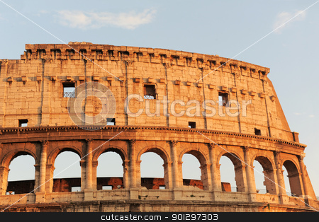Colosseum in Rome stock photo, Arched antique facade of ancient architectural European landmark gladiatorial amphitheatre Colosseum in Rome Italy on the blue sky background by Bonzami Emmanuelle