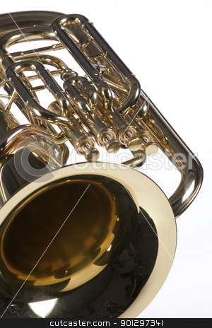 Tuba Euphonium Isolated on White stock photo, A bass tuba euphonium music instrument isolated against a high key white background. by Mac Milleer  (mkm3)