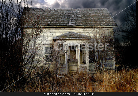 Abandoned Farm House stock photo, An old abandoned farm house on the prairie by Tyler Olson