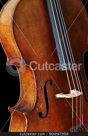 Black Isolated Cello stock photo, A cello isolated on a black background by Tyler Olson