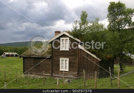 Norwegian Hytte stock photo, A norwegian mountain cabin (hytte) near roros rros tolga by Tyler Olson