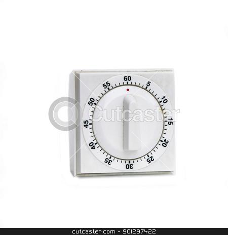 Vintage White Timer stock photo, A white plastic timer on white by Tyler Olson