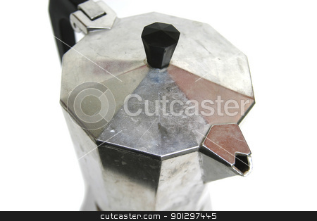 Stove Top Espresso Detail stock photo, A stove top mocca espresso maker isolated on white. by Tyler Olson