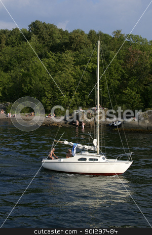 Sail Boat stock photo, Sail boat on the ocean near oslo by Tyler Olson
